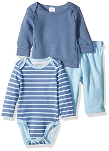 Fleece Baby Jumper - Hanes Ultimate Baby Zippin Fleece Pant with Long Sleeve Bodysuit and Sweatshirt, Blue Stripe, 6-12 Months
