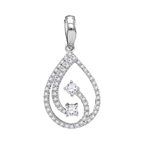 (10kt White Gold Womens Round Diamond 2-stone Hearts Together Teardrop Pendant 1/5 Cttw)