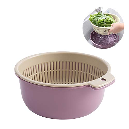 2-In-1 Multifunction Kitchen Colander/Strainer And Bowl Set, Double Layered Separabledrain Basin And Basket, for Cleaning, Washing, Mixing Fruits And Vegetables,Purple ()