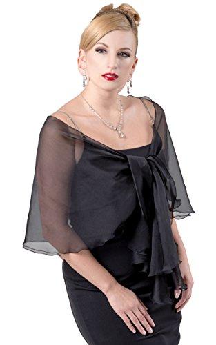 Black Silk Chiffon Dress (FLUTTERING SCARF for Evening Dress. Black 100% Silk Chiffon Wrap Shawl by Lena Moro)