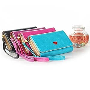 QYF Luxury Cell Phone Wallet Handbag Case with Card Holder for Samsung Galaxy S4/S3 iPhone 5/5S , Blue