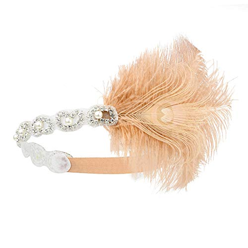 1920s Flapper Headband Women Roaring 20s Gatsby Costume Hairband Feathers Headwear Rhinestone Cocktail Party Headpiece Nude Pink]()