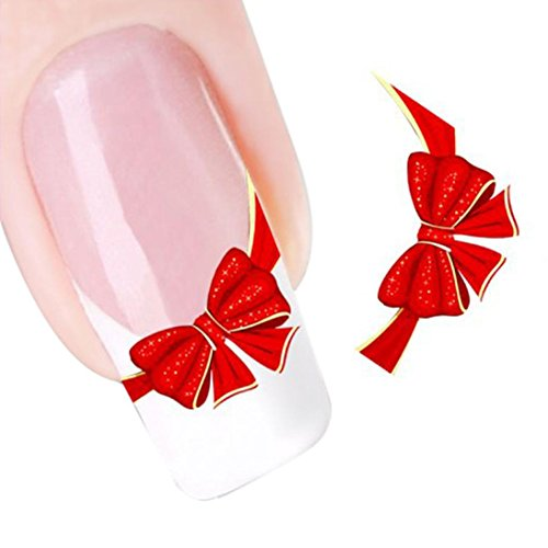 Women Nail Stickers,Girls Fashion Sexy Charming Nail Stickers,Red Bows Design Decals,Nail Art Stickers,Stickers for Nail Tip Art Water Transfers Decal Sticker Best Gift For Your Nails (Red) for $<!--$0.01-->