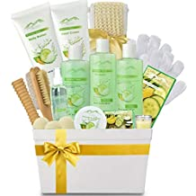 Spa Gift Baskets Beauty Gift Basket - Spa Basket, Spa Kit Bed and Bath Body Works Gift Baskets for Women! Bath Gift Set Bubble Bath Basket Body Lotion Gift Set for Holidays (Cucumber Melon)