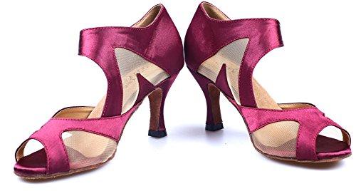 RoseSalabobo AQQ-6137 Womens Wedding Party Tango Peep Toe High Heel Satin Dance Shoes Rose Ys4MSgUG