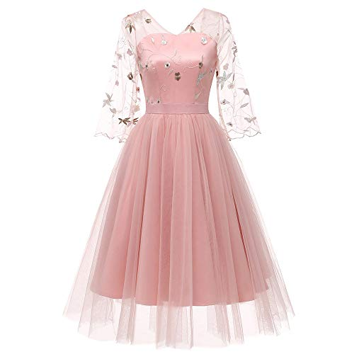 Hot Sale Womens Dresses,deatu Clearance Ladies V-Neck Back Floral Embroidered 3/4 Sleeved Chiffon Gown Swing Dress(Pink,M)]()