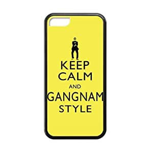 Keep Calm And Gangnam Style Yellow pc Case Cover for Iphone 5C