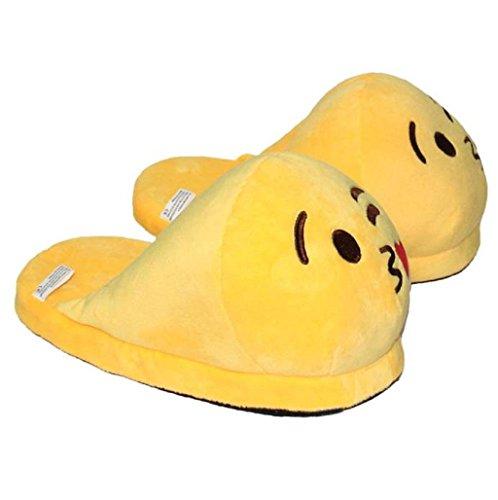 Demarkt Emoji Minions Unisex Zapatillas Invierno Casa interior slippers De Felpa Zapatos(marrón) Amarillo-1