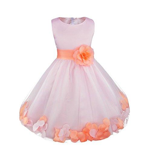 FEESHOW Wedding Pageant Flower Girls Dress Bridesmaid Formal Party Graduation Pink/Orange ()