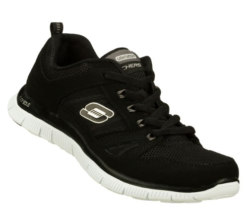 Skechers Flex Appeal Spring Fever Womens Lace Up Athletic Sneakers Wide Width Black/White 9 W