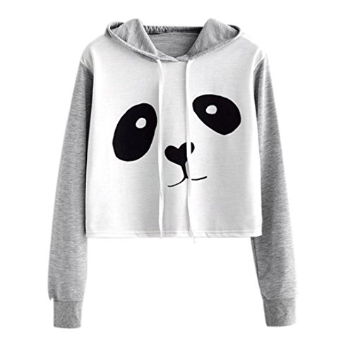 Women Hoodies, Kimloog Long Sleeve Cartoon Print Hooded Drawstring Short Pullover Crop Tops (M, Gray) ()