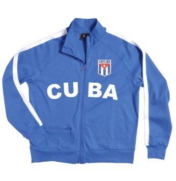 escudo blanco S XXL bordado Cuba con azul chaqueta con cremallera Cuba TqvB4xO