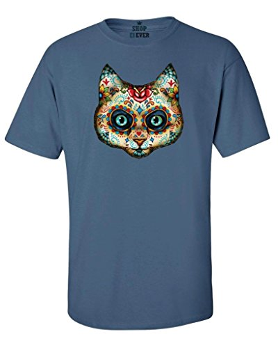 Shop4Ever Sugar Skull Cat T-shirt Day of the Dead Shirts X-Large Indigo Blue17020 (Sugar Skull Cat)