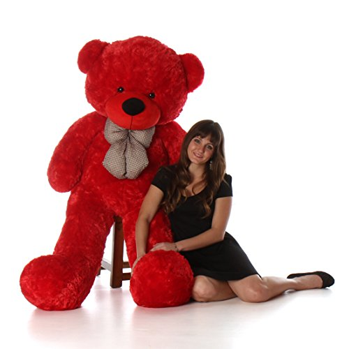 (Giant Teddy 5 Foot Life Size Teddy Bear Huge Stuffed Animal Toy Huggable Cute Cuddles Bear (Ruby Red))