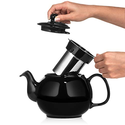 Black Glass Tea Pots - Saki Large Porcelain Teapot with Removable Stainless Steel Infuser, 48 ounce tea pot (Black)