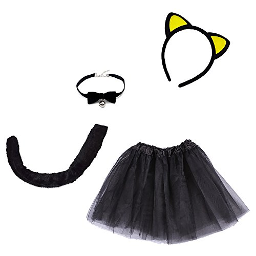 4-Piece Halloween Black Cat Costume for Girls Kitty Costumes Accessories for Kids Headband, Tail, Bow Tie Necklace, Tutu -