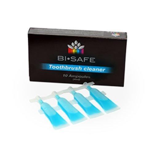 Bi Safe Probiotischer Toothbrush Cleaner 10 Ampullen je 4ml Zahnbürsten/aufsatz, Zahnspangen, Aufbisschienen, Knirscherschienen, Zahnprothesen Reiniger 10x 4ml