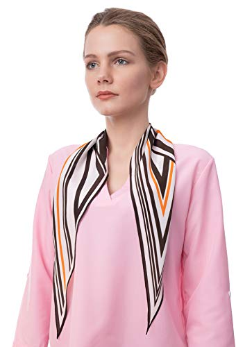 Luxurious Pure Silk Scarf and Hair Wrap with Geometric Striped Print (White&Brown) ()