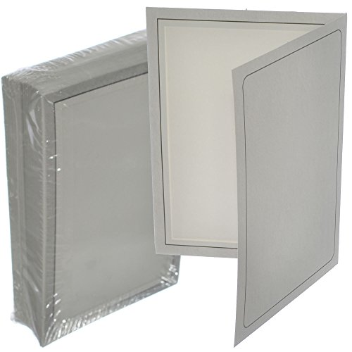 Briyar Cardboard Photo Folder Frame for 5x7 inch Pictures, Marble Gray (25 Pack)