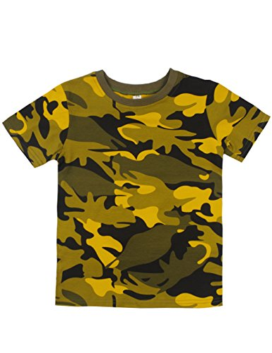 Spring&Gege Boys Summer Cotton Short Sleeve Camouflage T-Shirt Size 7-8 Years Camo Yellow