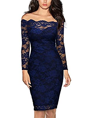 Miusol Women's Vintage Off Shoulder Flare Lace Slim Cocktail Pencil Dress