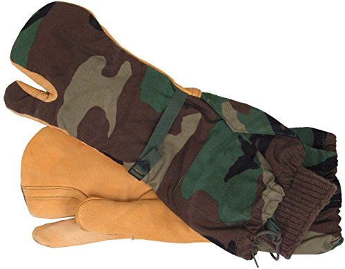 Military Outdoor Clothing Never Issued Woodland Mitten Shells with Liner, Camouflage, Medium
