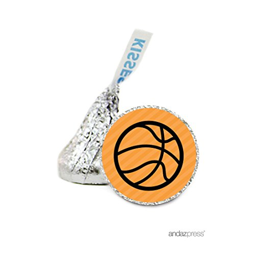 Andaz Press Chocolate Drop Labels Stickers, Birthday, Basketball, 216-Pack, for Hershey's Kisses Party Favors, Gifts, Decorations]()