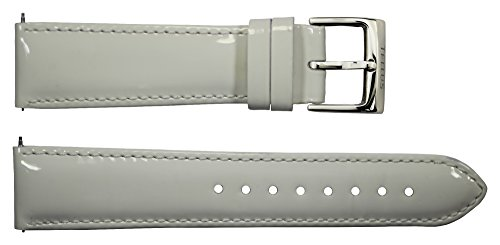 Tellus Quick Release White Varnished Calf Leather Band Replacement Pin Clasp, 20mm Strap - B20058