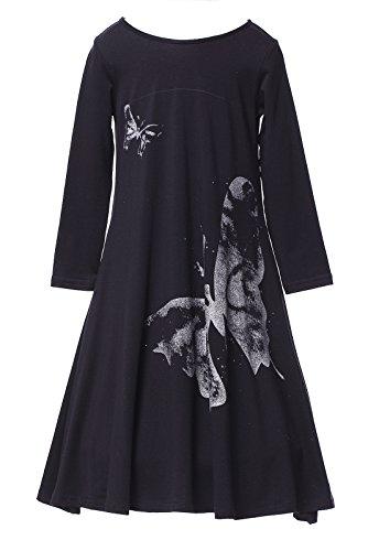 Happy Rose Girls Butterfly Print Dress Black 10