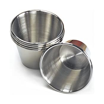 EhomeA2Z Polished Stainless Steel Condiment Sauce Cups 36, 2.5 oz
