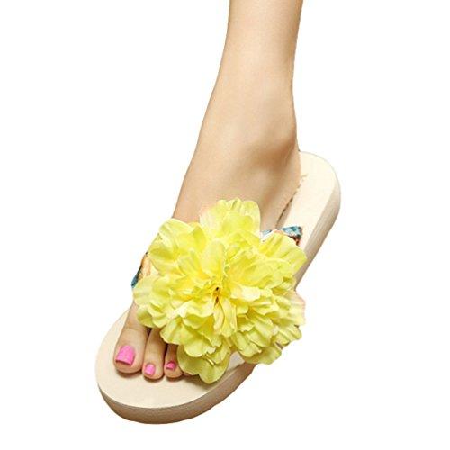 YOUJIA Mujeres Boho Flores Chanclas Verano Playa Zapatos de cuña Plataforma Zapatillas #2 Beige Verde