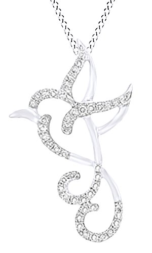 AFFY Round Cut White Natural Diamond Hummingbird Pendant Necklace in 14k White Gold