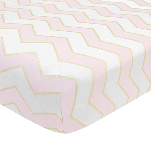 Lambs & Ivy Baby Love Chevron 100% Cotton Fitted Crib Sheet - -