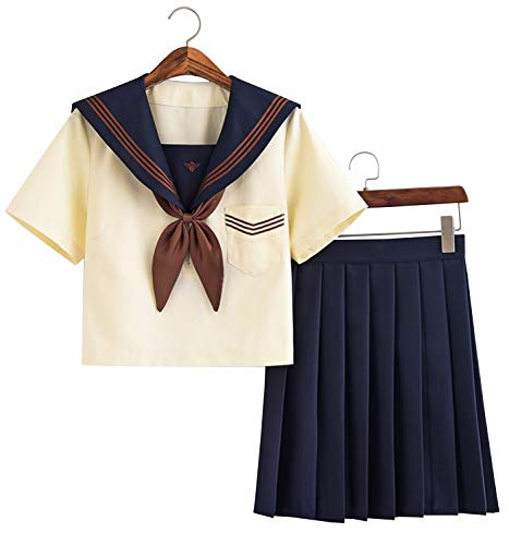 Doballa Women's Japanese High School Anime Cosplay Costumes Two Piece Pleated Skirts Lolita Suit