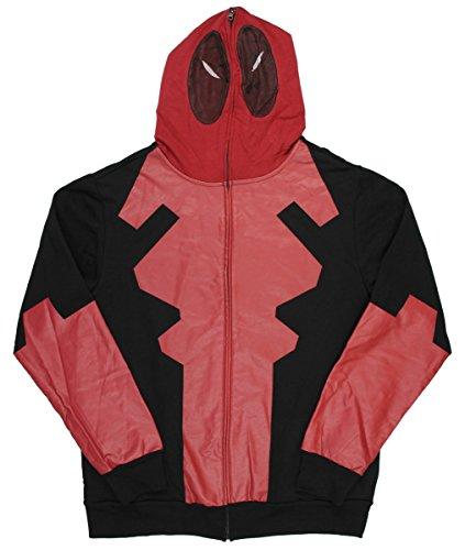 Marvel Comics Deadpool Costume Mask Hoodie Full Zip Mens Movie Pop Legend Large Red -