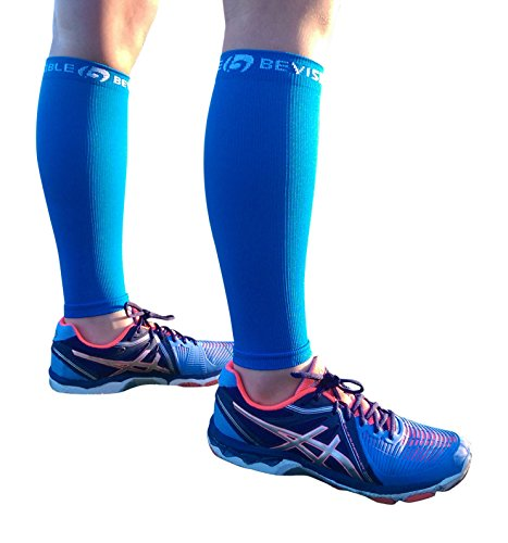 - BeVisible Sports Calf Compression Sleeve Footless Leg Compression Socks for Men & Women Use for Shin Splints, Running, Cycling, Travel, Circulation & Support - 1 Pair (Electric Blue, Small-Medium)
