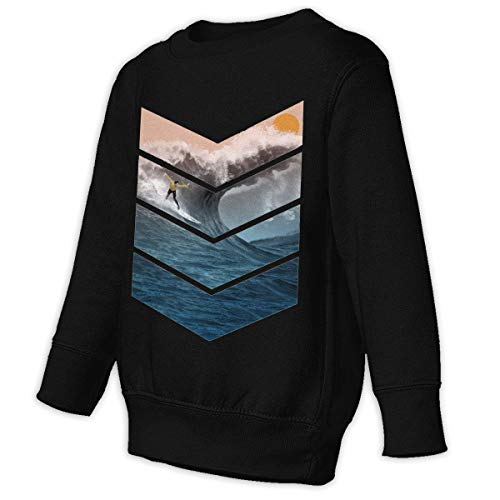 Xgbb Sunrise Surfer Toddler Long Sleeve Pullover Sweatshirt Little Boys' Sweatshirt Black 4T