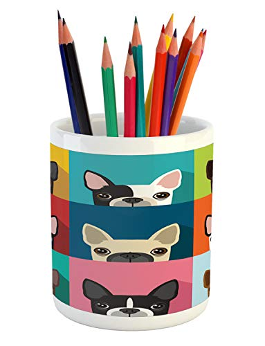 Ambesonne Boston Terrier Pencil Pen Holder, Minimalist Colorful Assortment of Terrier Portraits Multiple Variations, Printed Ceramic Pencil Pen Holder for Desk Office Accessory, Multicolor