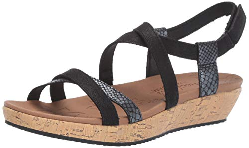 (Skechers Women's Brie-Desert Dance-Multi-Strap Slingback Sandal Flat, Black 8.5 M US)
