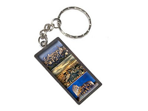 ty Of Rome Italy Coliseum Saint Peters Square Keychain Ring (K1766) (Rectangular Metal Luggage Tag)