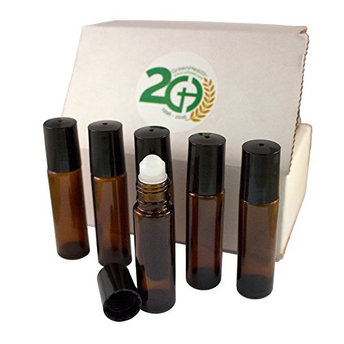 (Aromatherapy - Amber Glass Bottle with Roll On Applicator and Black Cap - 10 ml - Package of 6)