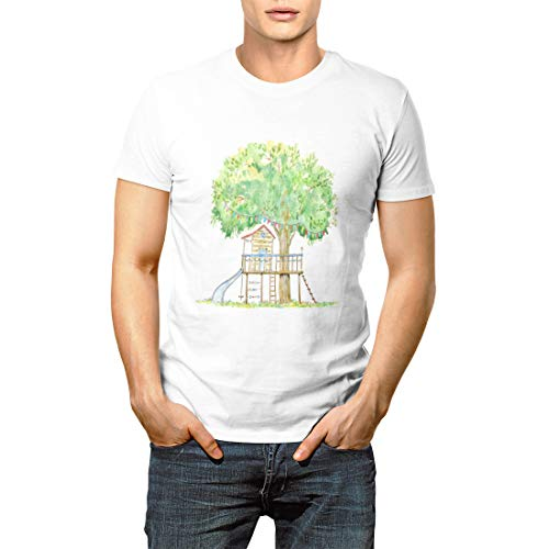 Vividesign Baby Tree House Swing Slide and Playhouse Summer Watercolor Men's Short Sleeve T-Shirt