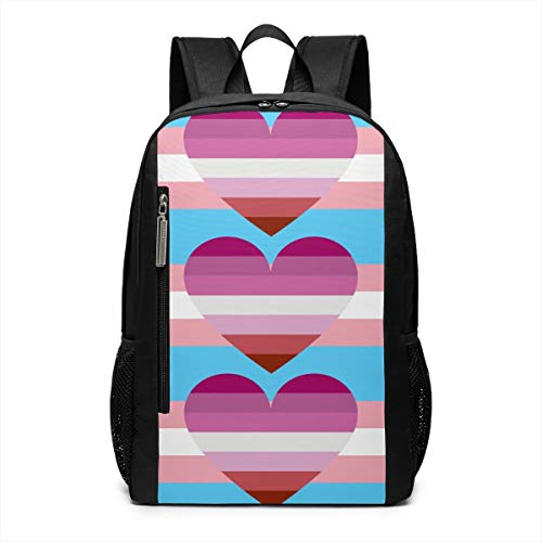 - Transgender Lesbian Love Pride Flag Heart Trans Theme Pattern Printed Girls Boy Teen Women Kid Men Gym Sports Gear Bookbag Book Back Mini Bag Laptop Backpack Travel Hiking