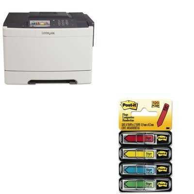 Lexmark KITLEX28E0050MMM684SH - Value Kit CS510de Color Laser Printer (LEX28E0050) and Post-it Arrow Message 1/2amp;quot; Flags (MMM684SH)