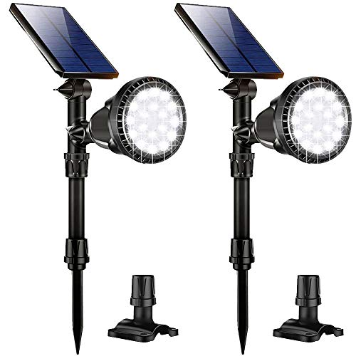 Nular tec Solar Lights Outdoor Latest 18 LED Waterproof Solar Spotlights Solar Landscape Lights Auto On/Off Wall Security Lighting for Garden Yard Pathway Driveway Pool Landscaping, Pack of 2 (White)