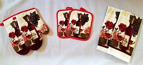 Wine Grapes Linen 6 Piece Bundle Package Oven Mitts (2) Pot Holders (2) Kitchen Towels (2) (#4323) (6 Piece Towel Set Grape)