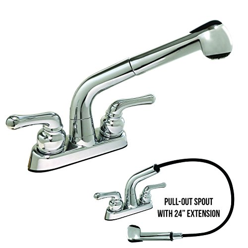 Laundry Faucet Pull-Out Spout Non-Metallic, Polished Chrome Finish