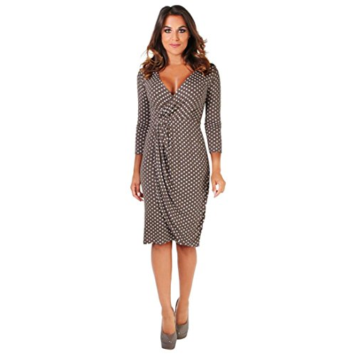 Cocktail Robe, Malloom Womens Polka Point V Neck 3/4 Sleeve Pliss Emballage De face Midi Robe Caf