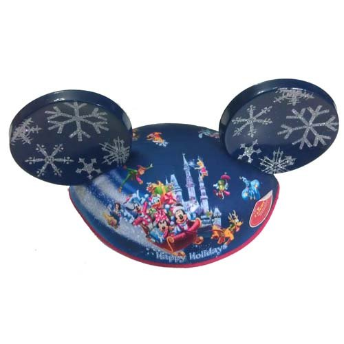 Disney Store/Disney Parks Light Up Mickey Mouse Ears Hat with Cinderella Castle, 17 Walt Disney World Characters and Glitter Snowflake Ears