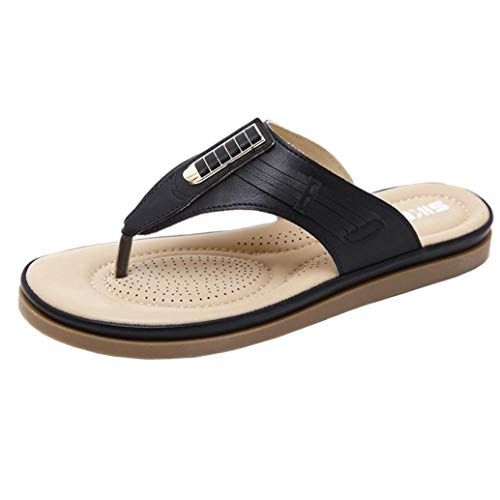 (FORUU Summer New Sandals Womens Shoes Bohemian Wedge Flops Buckle Beach)